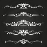 White flourish borders set on chalkboard vector illustration