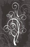 White flourish design. A white flourish design on black stock illustration