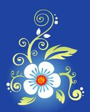 White flower. With leaves and curls on a dark blue background Stock Photo