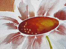 White Flower. Detail of a white flower, painted in watercolor technique, created by the photographer stock illustration