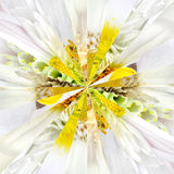 White Flower Center Collage Geometric Pattern Stock Image