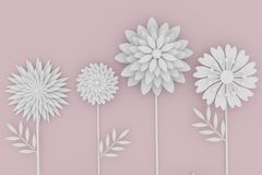 White flower paper origami on pink background in 3D rendering. White flower paper origami on soft pink background in 3D rendering Royalty Free Stock Photo
