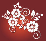 White flower pattern in red background Stock Photography