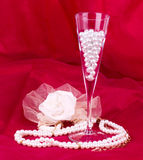 White flower, pearls and beads Stock Photography