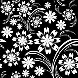 White flower seamless pattern on black. Stock Photography
