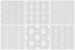 White flower seamless patterns set 1 Royalty Free Stock Photography