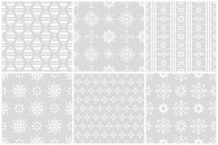 White flower seamless patterns set 2 Royalty Free Stock Photos