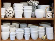 White flowerpots in the florist store Royalty Free Stock Photography