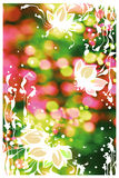 White flowers. Drawing flowers on photo background Stock Photos