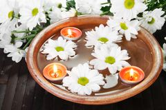 White Flowers Aroma Bowl Royalty Free Stock Photo