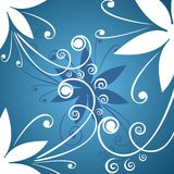 White flowers background. Fragments of the white stylized flowers on a dark blue background Stock Image