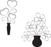 White Flowers, Balck and White Hearts. Black and white flowers and black and white hearts with black vases, flora, nature, plants, floral arrangement, hearts Royalty Free Stock Photo