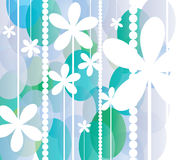 White flowers on blue and green circles background Royalty Free Stock Image