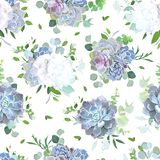 White flowers and blue, lilac succulents seamless vector design Stock Image