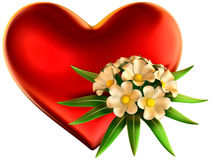 White flowers bouquet with big red heart Royalty Free Stock Photography