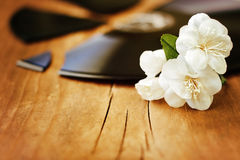 White flowers on a broken record Royalty Free Stock Photo