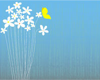 White flowers and butterfly. Blue striped background with white flowers and yellow butterfly, space for text, vector illustration, well layered Royalty Free Stock Photo
