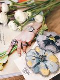 White Flowers on Catalog stock image