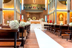 White flowers in church Stock Photos