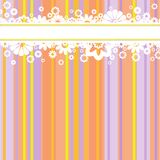 White flowers on colored strips. Horizontal stripe with white flowers at the multi-colored striped background vector illustration