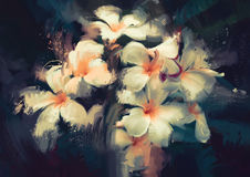 White flowers in the dark. Painting showing beautiful white flowers in dark background Stock Images