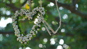 White flowers in form of heart stock video footage