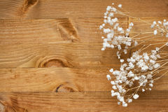 White flowers gypsophila. small white flowers on a wooden background Royalty Free Stock Photo