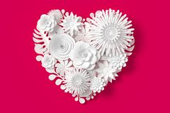 White Flowers are heart shape,on Pink Red background,3d rendering, with clipping path. White Flowers are heart shape,on Red background,3d rendering, with Royalty Free Illustration