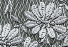 White flowers lace material texture macro shot Stock Image