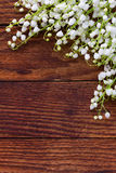 White flowers lilies of the valley scattered on the old wooden background. Stock Photos