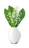 White flowers lilies of the valley in white vase isolated Stock Photo