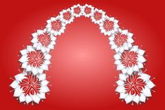 White flowers on red background Royalty Free Stock Image