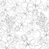 White flowers seamless flower pattern. Vector seamless texture Royalty Free Stock Photo
