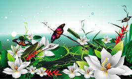 White flowers vector illustration Royalty Free Stock Photography
