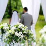 White flowers wedding decorations Stock Image