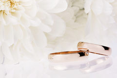 White flowers and  wedding rings Stock Image