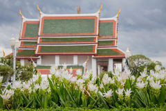 White flowers were planted in front of the temple Royalty Free Stock Photos