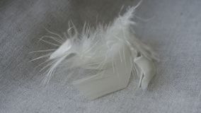 White fluff and feathers. On a linen napkin royalty free stock image