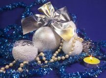 White fluffy beautiful New Year`s balls, brilliant tinsel.  Royalty Free Stock Photography