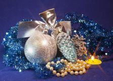 White fluffy beautiful New Year`s balls, brilliant tinsel.  Royalty Free Stock Photos