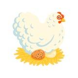 White fluffy chicken on a nest Stock Photo