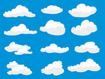 White fluffy clouds. Set of white fluffy clouds Stock Photos