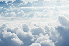 White fluffy clouds. Aerial view on white fluffy clouds Stock Images