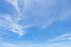 White fluffy clouds in the blue sky.  Royalty Free Stock Photo