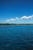 White fluffy clouds blue sky above a surface of the sea Royalty Free Stock Photos