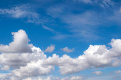 White fluffy clouds in the blue sky for background or backgrop n. Ature concept Stock Photo