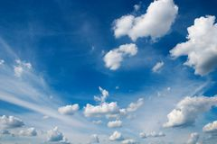 Blue Sky With White Cumulus And Cirrus Clouds In Sunny Day Stock Image