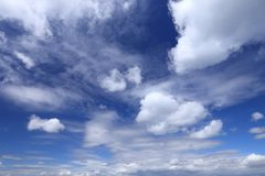 White fluffy clouds. On blue sky. Idyllic background abstract stock images