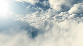 White Fluffy Clouds. The flight between white clouds stock footage