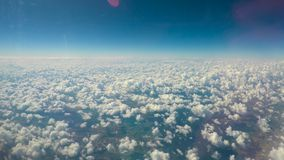 White fluffy clouds floating in sky, limitless possibilities, expanding horizons stock footage